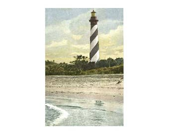 Nautical Art Print, Printable PDF, Lighthouse Art, Travel Art, Travel Poster, Lighthouse print, Anastasia Lighthouse, St Augustine Florida