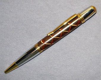 Handmade Wood Pen Segmented Parker Style Twist Ballpoint Pen  Gold/Chrome Wenge Bloodwood