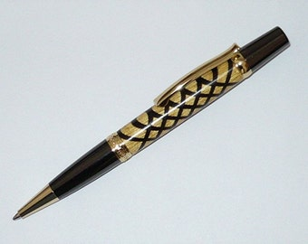 Handmade Wood Pen MONET Style Twist Ballpoint  Segmented Gold/Gunmetal Yellowheart Wenge