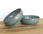 Rustic Pottery Soup Bowls in Sea Mist Glaze, Stoneware Ceramic Bowls, Set of 2