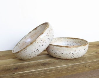 Rustic Pottery Soup Bowls in Satin Oatmeal Glaze - Set of 2