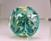 Blue Aqua Silver Lampwork Focal Bead SRA Lampwork Glass Beads