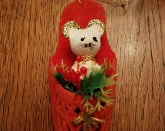 Vintage Flocked Mouse in a Slipper Christmas Ornament