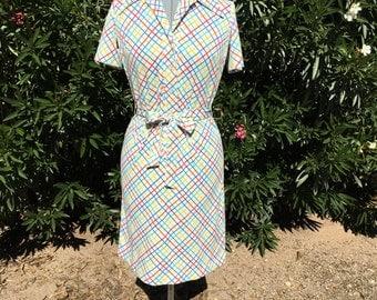 VTG Bullocks Wilshire Day Dress Polyester 60s Plaid SZ S Retro