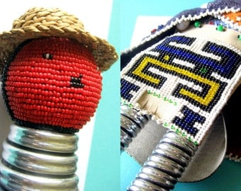 Vintage South African NDEBELE Beaded Doll with Jocolo Wedding Apron