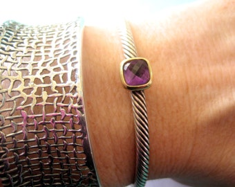 David Yurman Noblesse Sterling Silver & 18K Yellow Gold Amethyst Cable Cuff