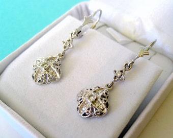 Vintage Platinum and Diamond Milgrain Drop Earrings