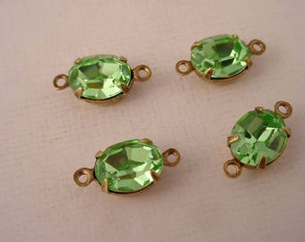 4 Vintage Swarovski Peridot oval  10x8 closed back brass ox connectors 2 ring