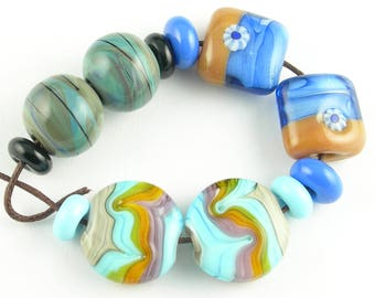 Handmade Lampwork Glass Bead Set Loose Beads Earring Pairs SRA Variety Sets in Shades of Blue