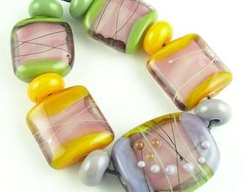 Handmade Lampwork Glass Bead Set Loose Beads SRA in Pink Purple Mustard Yellow Olive Green