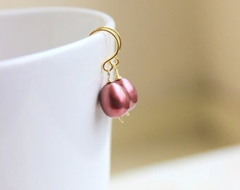 Valentines Day Sale Maroon Pearl Earrings Teardrop Cranberry Gold GE17