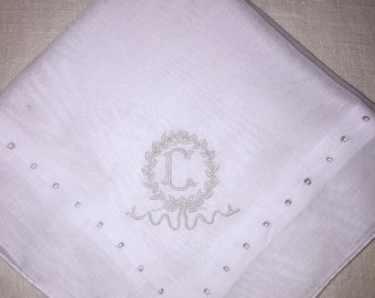 Vintage White Hanky with a White Initial C - Handkerchief Hankie