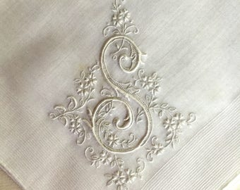 Vintage White Hanky with a White Initial S - Hankie Handkerchief