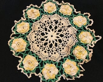 Vintage Hand Crochet Off White with Yellow and White Raised Roses Doily