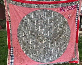 Vintage Hand Tied Red, Black and Cream Make Do Cutter Quilt