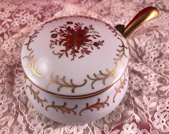 Vintage White and Gold Laco Hand Painted Silent Butler