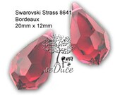 Clearance Vintage 2 pcs Swarovski Strass Crystal 8641 20mm Crystal Teardrops BORDEAUX or CLEAR