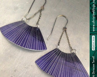 Etched Royal Purple FanDangles—Upcycled Tin Earrings
