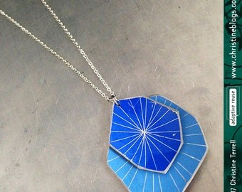 Faceted Starburst: Blues -- Upcycled Tin Necklace