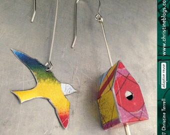 Teeny Rainbow Bird and House -- Upcycled Tin Earrings