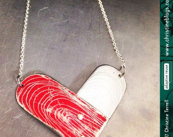Etched Heart -- Upcycled Tin Necklace