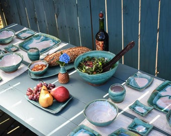 Custom Turquoise and White Dinnerware Set for Twelve- Made to Order