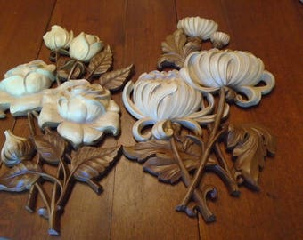 Set of 2 Syroco flower wall plaques from 1962 hard plastic wood toned vintage home decor roses and chrysanthemums made in USA