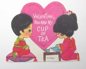 Vintage Children's Novelty Valentine Greeting Card with Asian Chinese Japanese Boy & Girl Having Cup of Tea Table