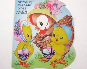Vintage 1940s or 1950s Flocked Easter Greeting Card with Cute Hen Chicks Baskets of Eggs