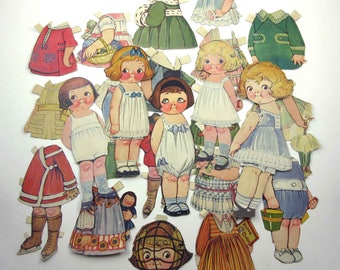 Vintage or Antique Dolly Dingle Paper Dolls with 5 Dolls and 19 Outfits and Accessories