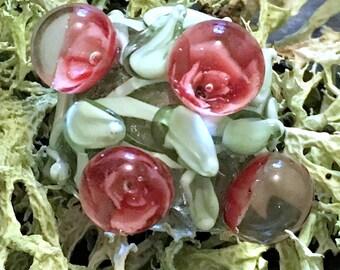 Pink Boro Rose Blossom Lampwork Focal Flower Bead - Murrine by Hannah Rosner