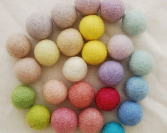 100% Wool Felt Balls - 2.5cm - 25 Count - Assorted Light, Pale & Pastel Colours