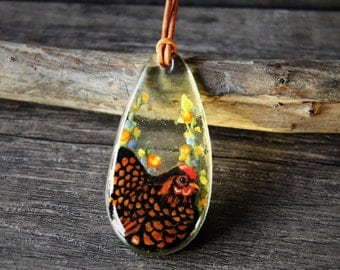 Hen in the garden necklace - fused glass pendant,