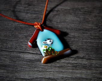 Sweet Little spring mouse fused glass pendant,  jewelry