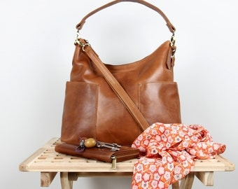 Leather Handbag Purse, Tan and Dark Brown