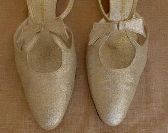 Vintage 60s Silver Metallic Slingback Heels 7.5N