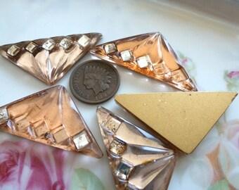 1 Vintage Glass Cabochons 1930s - 40s Peach Art Deco Fan Triangular Triangle Shape, Gold Foiled Flat Back,German?, 43x21.5mm, 1 pc. (C39)