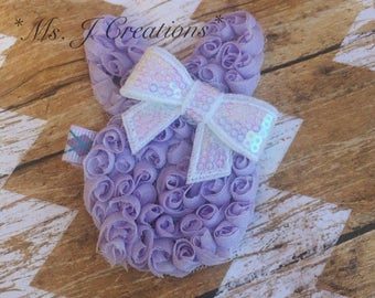 Purple/White Shabby Bunny Head Hairclip - Easter Spring Girls Cute Photo Prop - READY TO SHIP