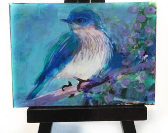 Sprng returns, Blue bird aceo, Easel and aceo, #Bluebirds #Bird aceo #Spring decor #Spring aceo #Artist trading cards #Gifts under 20