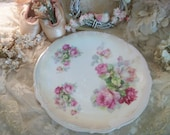 """antique roses china serving plate, p k silesia, tea party table, decor, 12"""" round, beautiful, lush antique roses, soft cottage colors"""
