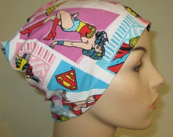 Beanie WonderWoman, etc. Chemo Hat Print  Play Sleep Cap, Cancer Hat, Alopecia