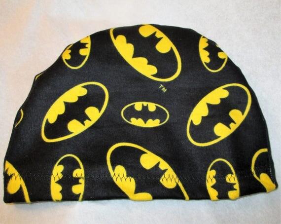 KID'S  Flannel Bat Silhouette Batman Chemo Hat,   Kid'sCancer Cap, Alopecia, Sleep Cap