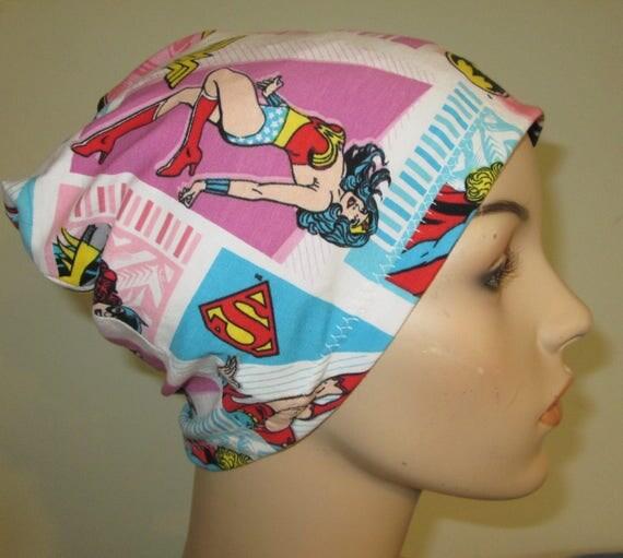Beanie WonderWoman, etc. Chemo Hat Print  Play Sleep Cap, Cancer Hat, Alopecia