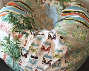 NEW Surfer Boy multi print bean bag with vw buses, stripes, turtles, palm trees and map FLAT unfilled with liner