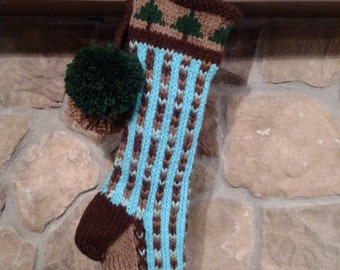 Old Fashioned Hand Knit Bright Series Earth Bown & Sky Blue Bold Vertical Stripe Christmas Stocking with Fir Tree Border