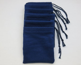 Set of 6, Solid Navy Blue Flannel Cotton Hoo Doo / Mojo Bags / Jewelry Pouches