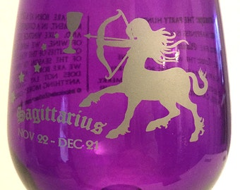 What's Your Sign Sagittarius Wine Glass (painted)