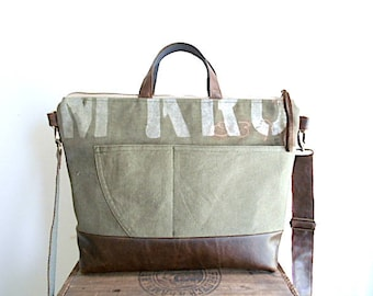 Recycled military canvas, leather tote bag, crossbody - eco vintage fabrics