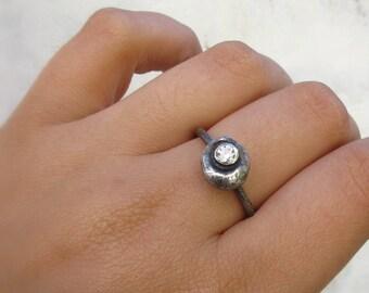 Silber pebble Stapeln Ringe - Signity kubische Zirkon-stapelbar Ring - bereit zu versenden-In Ihrer Größe - organisches Design - Natur inspiriert