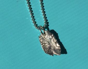 Silver Fish ear bone (otoliths) charm necklace